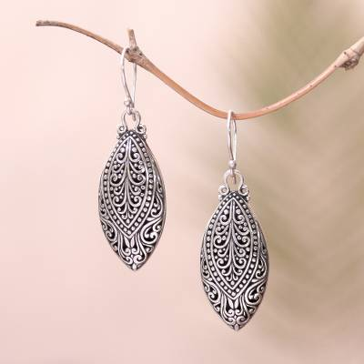 Sterling silver dangle earrings, 'Marquise Antiquity' - Swirl Pattern Sterling Silver Dangle Earrings from Bali
