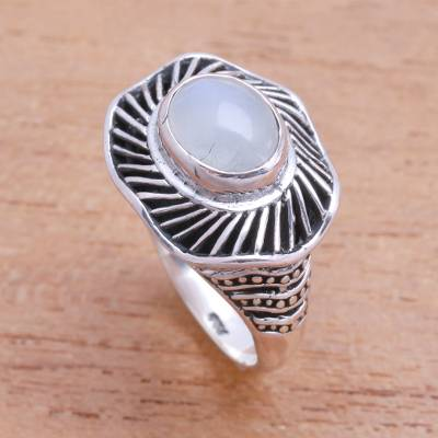 Moonstone cocktail ring, 'Cloud Spokes' - Moonstone Cocktail Ring Crafted in Bali