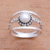 Cultured pearl cocktail ring, 'Dotted River' - Dot Pattern Cultured Pearl Cocktail Ring from Bali
