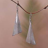 Sterling silver dangle earrings, 'Modern Pyramids' - Sterling Silver Pyramid Dangle Earrings from Bali