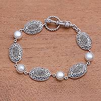 Cultured pearl link bracelet, 'Charming Clusters' - Dot Pattern Cultured Pearl Link Bracelet from Java