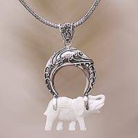 Sterling silver and bone pendant necklace, 'Clever Elephant' - Sterling Silver and Bone Elephant Pendant Necklace from Java