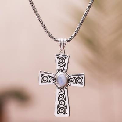 Moonstone pendant necklace, Mesmerizing Faith