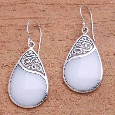 Sterling silver and resin dangle earrings, 'Cloud Drops' - Drop-Shaped Sterling Silver and Resin Dangle Earrings