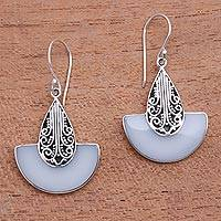 Sterling silver and resin dangle earrings, 'Swirl Clouds' - Artisan Crafted Sterling Silver and Resin Dangle Earrings