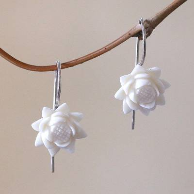 Bone drop earrings, 'Floating Padma' - Floral Bone Drop Earrings Crafted in Bali