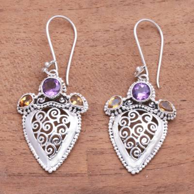 Amethyst and citrine dangle earrings, 'Swirl Drops' - Swirl Pattern Amethyst and Citrine Dangle Earrings
