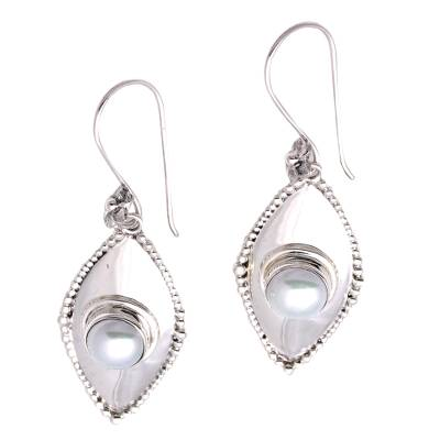 Cultured pearl dangle earrings, 'Moonlight Shields' - Cultured Pearl Dangle Earrings Crafted in Bali