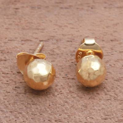 Gold plated sterling silver stud earrings, 'Hammered Domes' - Domed Gold Plated Sterling Silver Stud Earrings from Bali