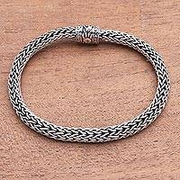 Sterling silver chain bracelet, 'Simply Classic' - Sterling Silver Foxtail Chain Bracelet from Bali