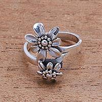Sterling silver cocktail ring, 'Flower Duo' - Double Flower Sterling Silver Cocktail Ring from Bali