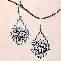 Sterling silver dangle earrings, 'Jagaraga Sun' - Sun Pattern Sterling Silver Dangle Earrings from Bali