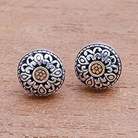 Gold accented sterling silver stud earrings, 'Essence of Sun' - Wave Pattern Gold Accented Sterling Silver Stud Earrings