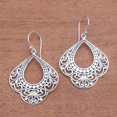 Sterling silver dangle earrings, 'Original Elegance' - Patterned Sterling Silver Dangle Earrings from Bali