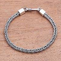 Sterling silver chain bracelet, 'Foxtail Rope' - Sterling Silver Foxtail Chain Bracelet from Bali