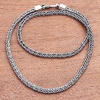 Sterling silver chain necklace, 'Foxtail Rope' - Sterling Silver Foxtail Chain Necklace from Bali