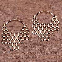 Gold plated brass drop earrings, 'Golden Honeycomb' - Hexagon Pattern Gold Plated Brass Drop Earrings