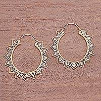 Gold plated hoop earrings, 'Sunrise Elegance' - Sun-Shaped Gold Plated Brass Hoop Earrings from Indonesia