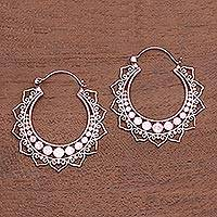 Rose gold plated hoop earrings, 'Indonesian Sunset' - Rose Gold Plated Brass Hoop Earrings from Indonesia