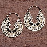Gold plated hoop earrings, 'Midday Sun' - Circular Gold Plated Brass Hoop Earrings from Indonesia
