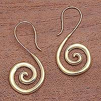 Gold plated drop earrings, 'Golden Song' - Spiral Shape Gold Plated Brass Drop Earrings from Indonesia