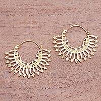 Gold plated brass hoop earrings, 'Midday' - Patterned 18k Gold Plated Brass Hoop Earrings from Indonesia