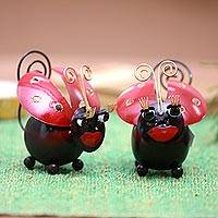 Steel decorative accents, 'Lady Bug Duo' (pair) - Handcrafted Steel Lady Bug Decorative Accents (Pair)