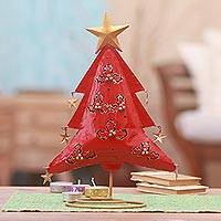 Steel tealight holder, 'Red Christmas Tree' - Steel Christmas Tree Tealight Holder from Bali