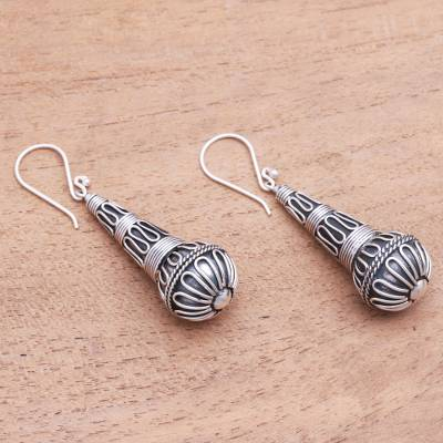 Sterling silver dangle earrings, 'Singing Morning' - Handmade Sterling Silver Dangle Earrings from Bali