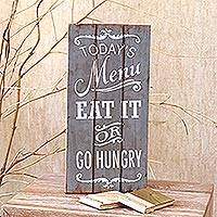 Wood wall sign, 'Today's Menu' - Kitchen-Themed Wood Wall Sign from Bali