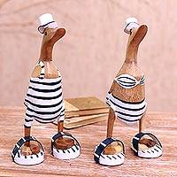 Bamboo root and wood sculptures, 'Beachside Ducks' (pair) - Bamboo Root and Wood Duck Beach Goer Sculptures (Pair)