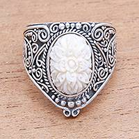Sterling silver and bone cocktail ring, 'Intricate Majesty' - Hand-Carved Floral Sterling Silver and Bone Cocktail Ring