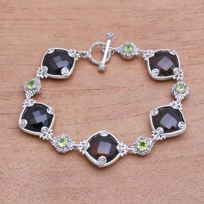 Smoky quartz and peridot link bracelet, 'Buddha Glitter' - 102.5-Carat Smoky Quartz and Peridot Link Bracelet from Bali