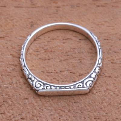 Sterling silver band ring, 'Intaglio Curls' - Swirl Pattern Sterling Silver Band Ring from Bali