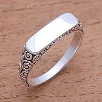 Sterling silver band ring, 'Intaglio Beauty' - Curl Pattern Sterling Silver Band Ring from Bali