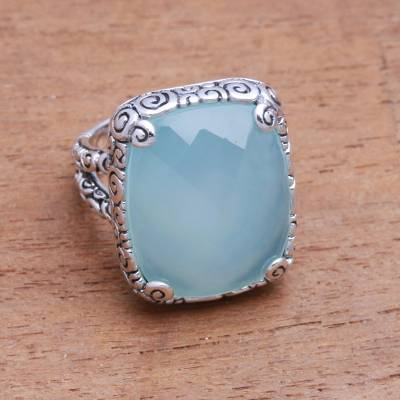 Chalcedony cocktail ring, 'Buddha's Curl Bliss' - 15-Carat Blue Chalcedony Cocktail Ring from Bali