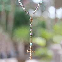 Gold plated labradorite and amazonite rosary, 'Fascinating Cross' - Gold Plated Labradorite and Amazonite Rosary from Bali