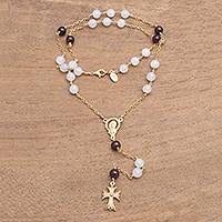 Gold plated moonstone and garnet rosary, 'Delightful Faith' - Gold Plated Moonstone and Garnet Rosary from Bali
