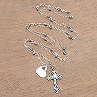 Cultured pearl long pendant necklace, 'Love for the Cross' - Cultured Pearl Heart and Cross Long Pendant Necklace