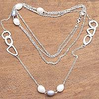 Cultured pearl station necklace, 'Stylish Charm' - Modern Cultured Pearl Station Necklace from Bali