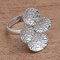 Sterling silver cocktail ring, 'Abstract Pads' - Modern Sterling Silver Cocktail Ring from Bali