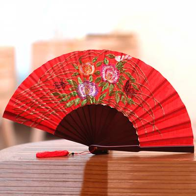 Embroidered silk hand fan, 'Poppy Bliss' - Floral Embroidered Silk Hand Fan in Poppy from Bali