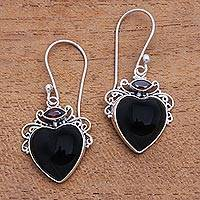 Garnet and horn dangle earrings, 'Dark Passion' - Heart-Shaped Garnet and Horn Dangle Earrings from Bali
