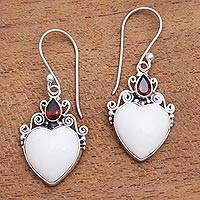 Garnet and bone dangle earrings, 'Heart Passion' - Heart-Shaped Garnet and Bone Dangle Earrings from Bali