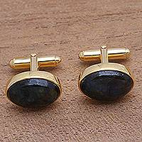 Gold plated labradorite cufflinks, 'Bold Eyes' - Gold Plated Oval Labradorite Cufflinks from Bali