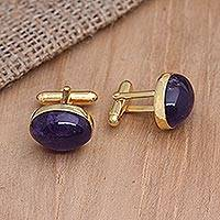 Gold plated amethyst cufflinks, 'Bold Eyes' - Gold Plated Oval Amethyst Cufflinks from Bali