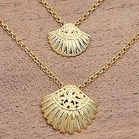 Gold plated sterling silver pendant necklace, 'Seashells' - Gold Plated Sterling Silver Clam Shell Pendant Necklace