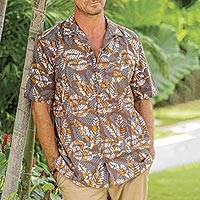 Men's cotton shirt, 'Brown Leaf Shadows' - Men's Short Sleeved Brown Cotton Batik Shirt from Bali