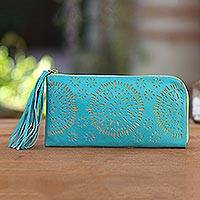Leather clutch, 'Borobudur Stars in Turquoise' - Circle Pattern Leather Clutch in Tosca from Bali