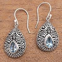 Blue topaz dangle earrings, 'Balinese Dewdrop' - Artisan Crafted Balinese Blue Topaz and Silver Earrings
